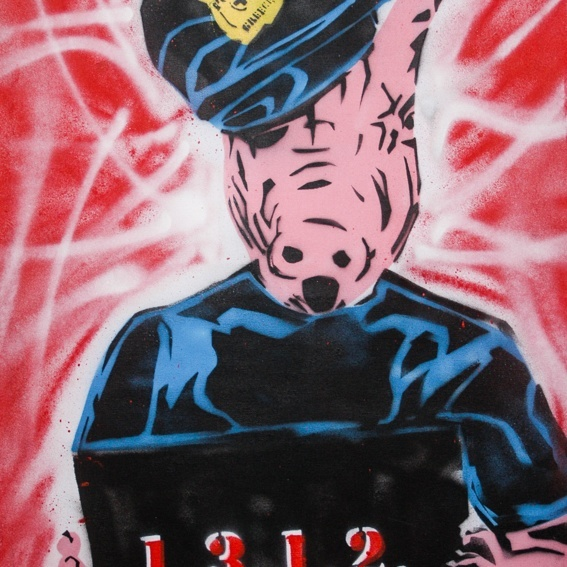 """""""Greek Cop"""" / political stencils from Athens"""