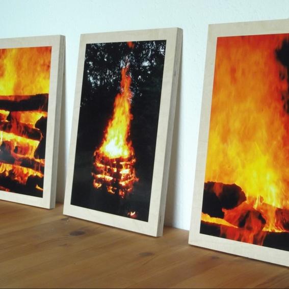 3 Feuerbilder als Triptychon, auf Sperrholz je 52x37x1,4 cm