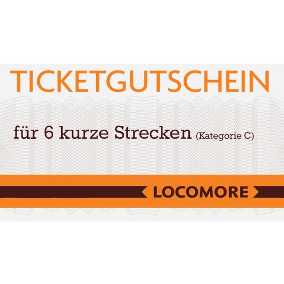 Ticketgutschein C, 6 kurze Strecken