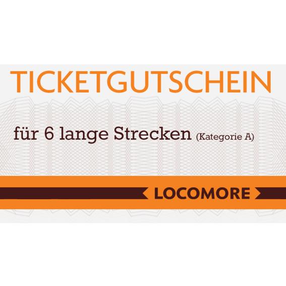 Ticketgutschein A, 6 lange Strecken
