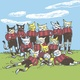 "Siebdruck ""Katzenfußballer"" (Anke Kuhl) + POLLE #1"