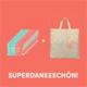 SUPERDANKESCHÖN + 50 Aufkleber + Stoffbeutel