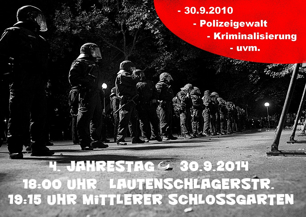 4 Jahre 30.9. - Gegen Polizeigewalt in Stuttgart & Weltweit