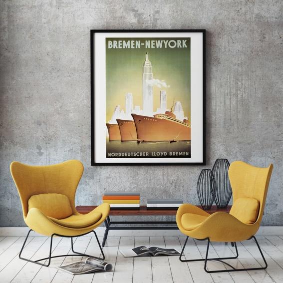 """Kunstdruck """"Norddeutscher Lloyd"""" BREMEN-NEWYORK"""
