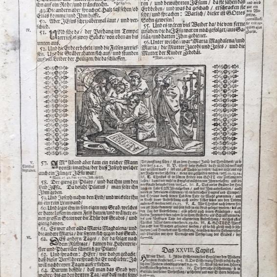 Bibelseite mit  Bild /Alter Stich