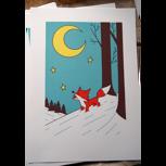 """Siebdruck """"Fuchs im Schnee"""" (Ulf K.), signiert/nummeriert + POLLE #1"""