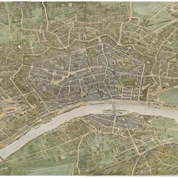 Plakat A0: Malerischer Plan von Frankfurt 1864, F. W. Delkeskamp