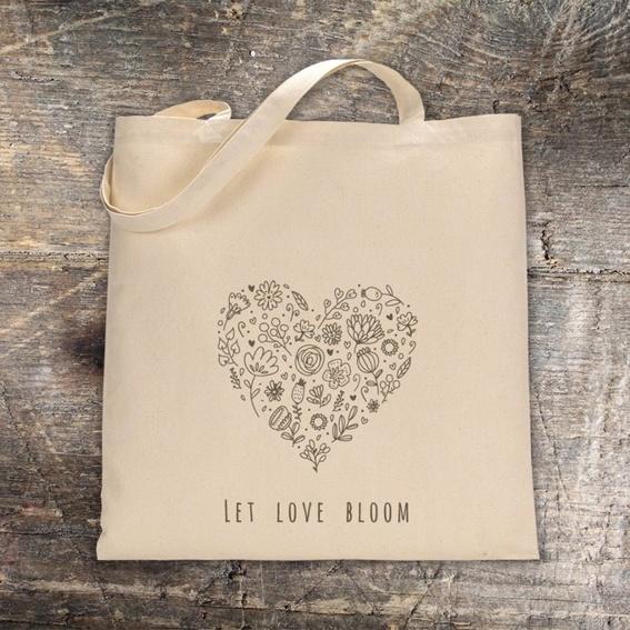 1 x Baumwolltasche LET LOVE BLOOM