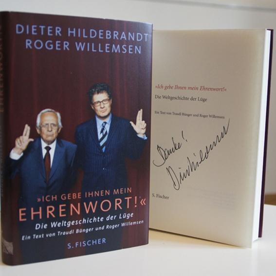 """""""Ich gebe Ihnen mein Ehrenwort!"""" mit Roger Willemsen - handsigniertes Buch"""