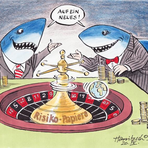 Finanzhaie DRUCK A3 - signiert von Hanitzsch und Hildebrandt