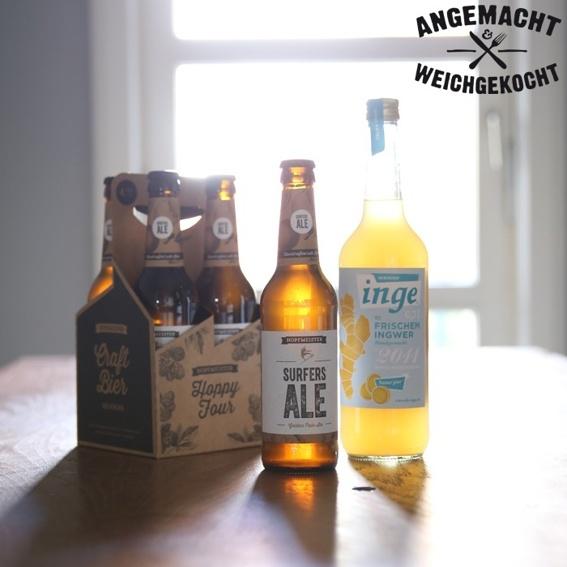 1 Paket - 1 Flasche Inge + 4 Flaschen Surfers Ale + Rezept