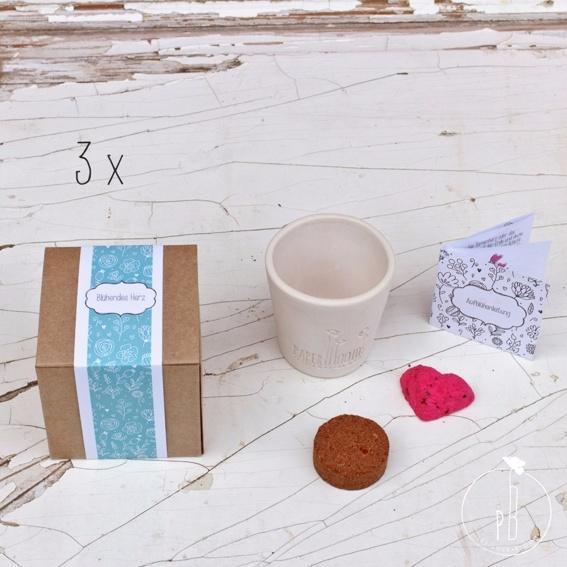 """3 x Geschenkbox """"Blühendes Herz"""" (für Dich und 2 x zum Verschenken)"""