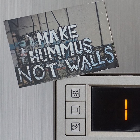 "Fridge Magnet ""Make Hummus Not Walls"""