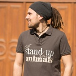 """i stand up for animals"" men polo"