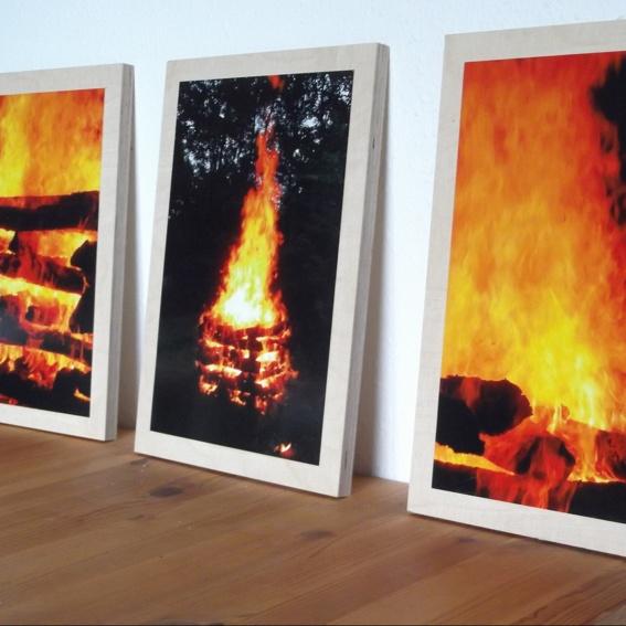 3 Feuerbilder als Triptychon mit Rahmen 35x25x1,2 cm