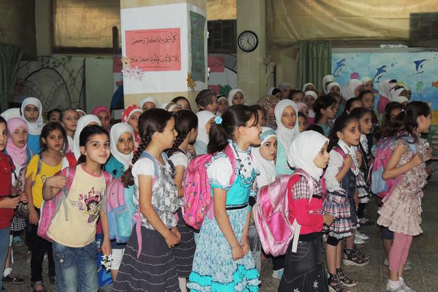 Schulbeginn im syrischen Erbin