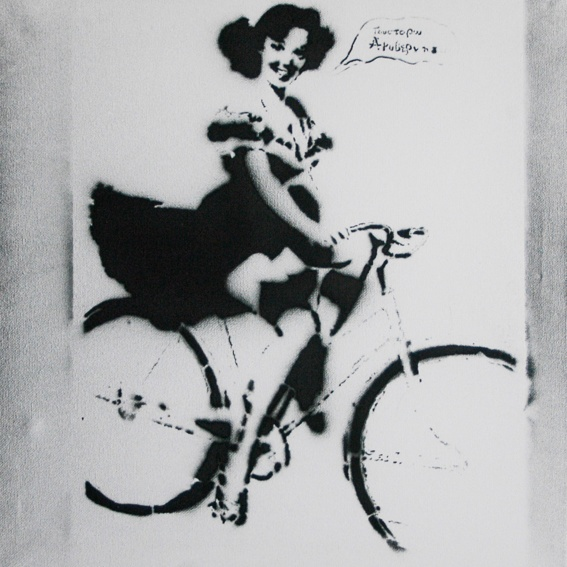 """""""Girl On Bike"""" / political stencils from Athens"""
