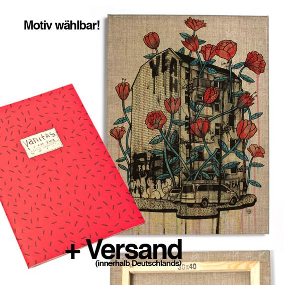 1 Ausgabe »Superzine Vanitas« (Pre-Order) + 1 30x40 Artprint auf Leinwand