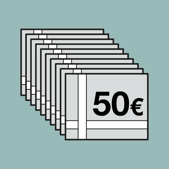 450 EUR für 500 EUR-Gutscheinheft