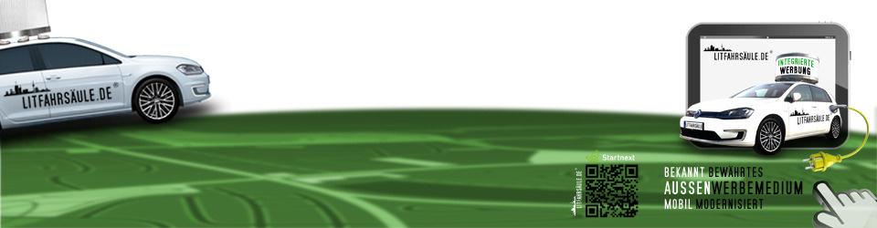 litfahrsäule, integriertes Aussenwerbemedium