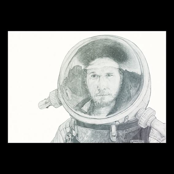 Raumfahrer Portrait Druck  A2