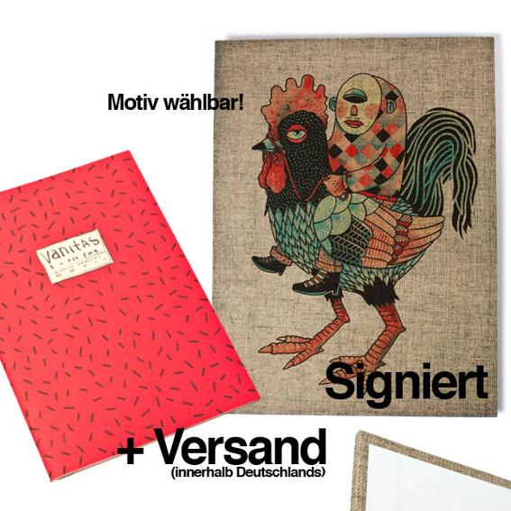 1 Ausgabe »Superzine Vanitas« (Pre-Order) + 1 30x40 Artprint auf Leinwandkarton, signiert
