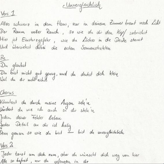 Handgeschriebener Songtext NACHSCHUB :)