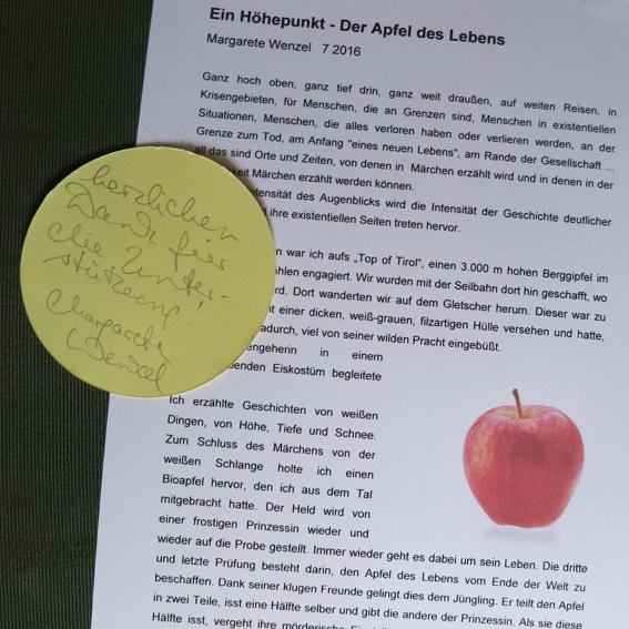Eine Geschichte aus dem Projekt, Schriftfassung, von der Erzählerin signiert