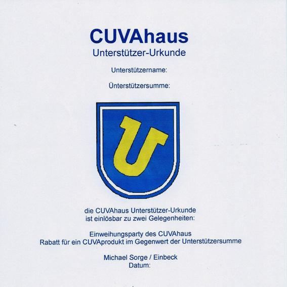 CUVAhaus URKUNDE / Gutschein