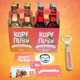 KopfNuss Probierset: 1x 4-Träger Maracuja, 1x 4-Träger Johannisbeere + Flaschenöffner + Stickerset