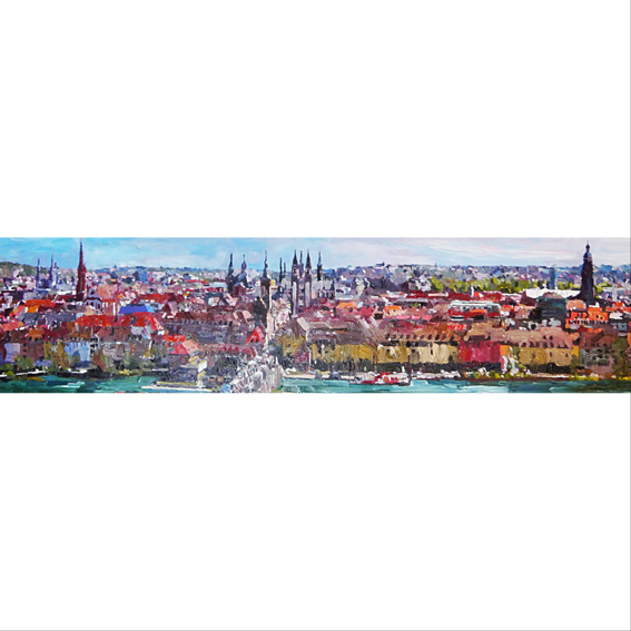 Originalgemälde Stadtpanorama Würzburg
