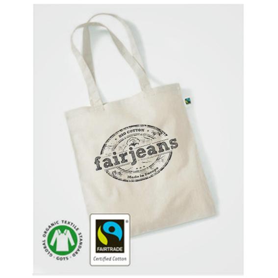 Stoff-Tasche natur, Bio-Baumwolle, mit Logo