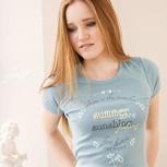 passion for planet no2 – women shirt taubenblau elastisch