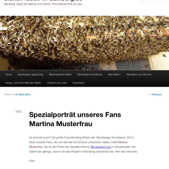Nennung auf Website + 1 Spezialporträt