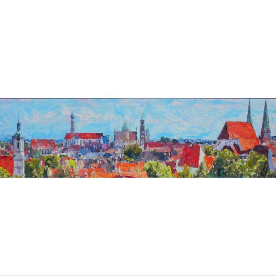 Leinwanddruck Panorama Augsburg