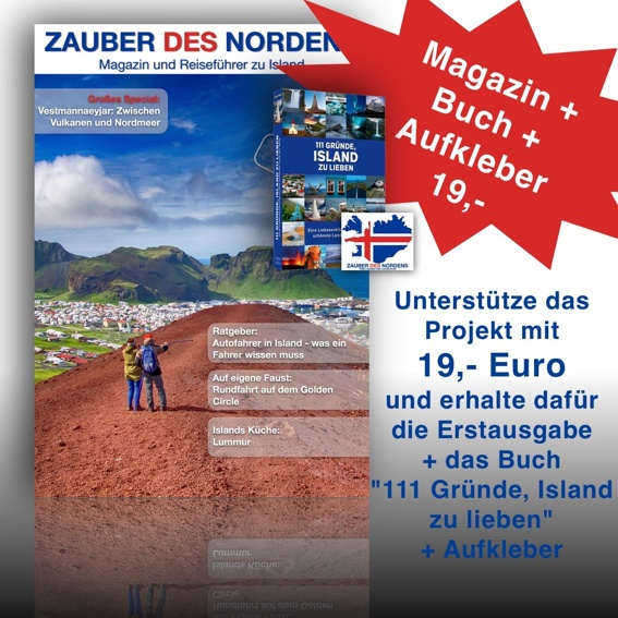 """Magazin + Buch """"111 Gründe, Island zu lieben"""" + Aufkleber"""