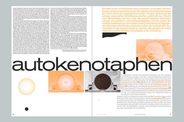 manege – Zeitschrift für Architektur