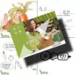 Erdling-Postkarte samt Kompass für eine bessere Welt