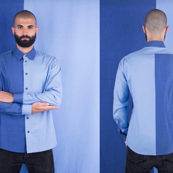 Herrenhemd   zweifarbig   blau - hellblau