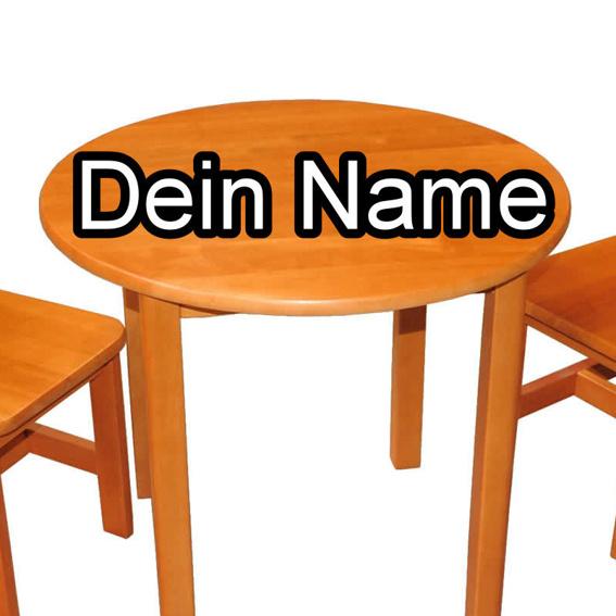 Dein Name auf einem Café-Tisch