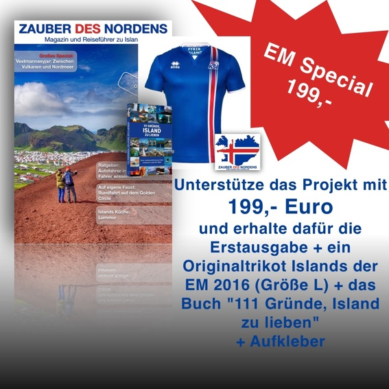 "EM Spezial: Original Errero Trikot + Magazin + Buch ""111 Gründe, Island zu lieben"" + Aufkleber"