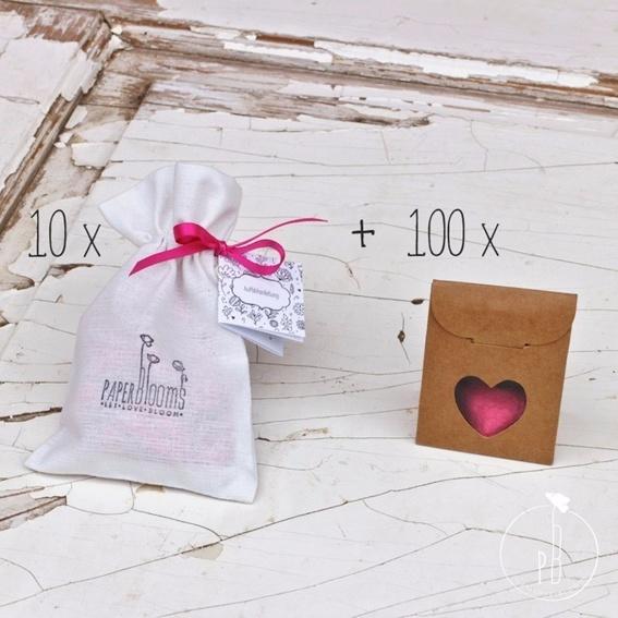 10 x Seedbombs + 100 Verpackungen (Hochzeitsset für 100 Gäste)
