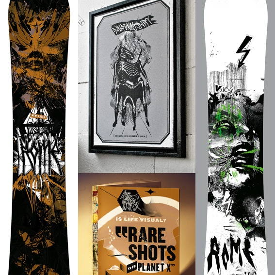 RARE SHOTS book, SOCIAL SKELETONS canvas und ROME snowboard in Disturbanity design