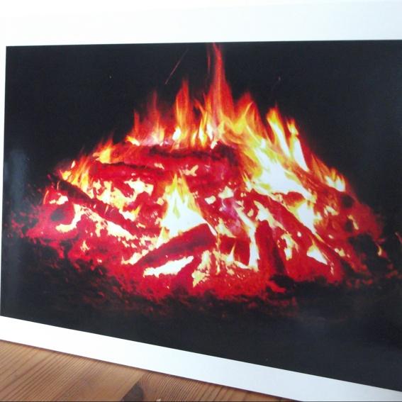 1 Feuerbild auf Sperrholz mit Rahmen 35x25x0,6 cm