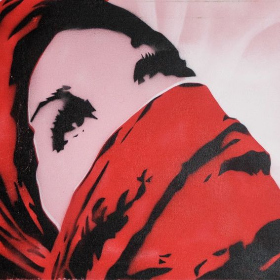 """Palestine Girl"" / political stencils from Athens"