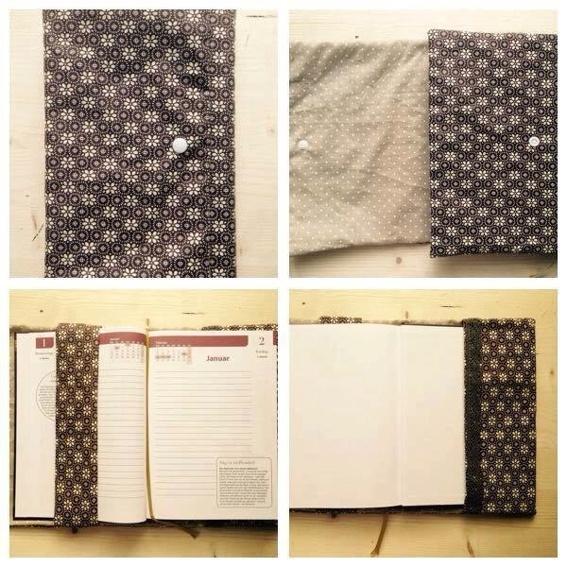 Handgefertigter Buchumschlag aus Stoff