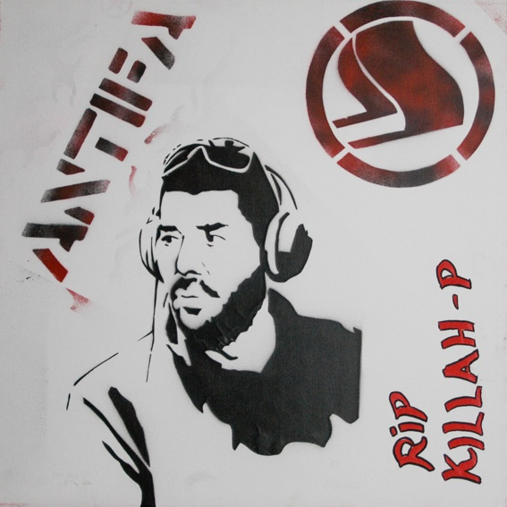 """Killed Rapper"" / political stencils from Athens"