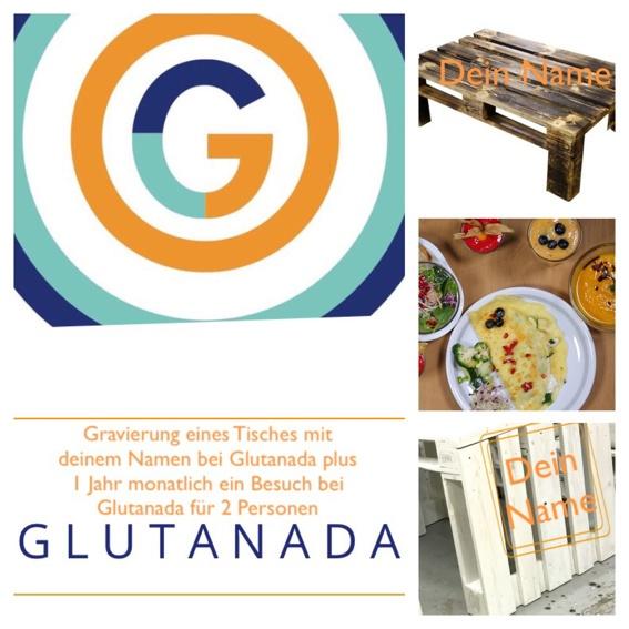 Gravierung eines Tisches mit deinem Namen im Glutanada, der immer für dich reserviert ist,  plus ein Jahr monatlich für 2 Personen ein Besuch im Glutanada mit freier Auswahl