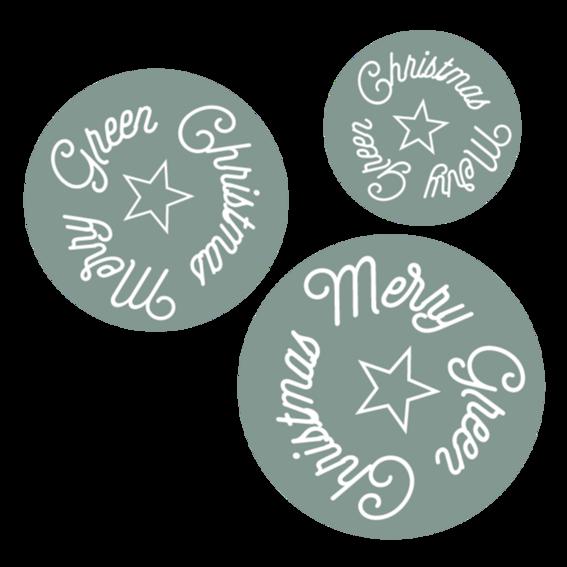 "Sticker ""MERRY GREEN CHRISTMAS"" (10 Stk.)"