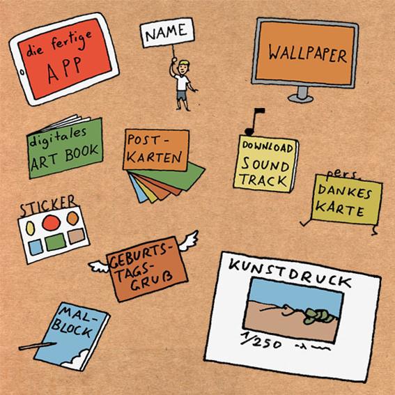 KUNSTSAMMLER: Die App, digitales Wallpaper und Artbook, Silber-Backer Nennung, Soundtrack zum Download, Sticker, 6er Postkartenset, Kritzelblock, Dankeskarte, Geburtstagsgruß und ein limitierter und signierter Kunstdruck.